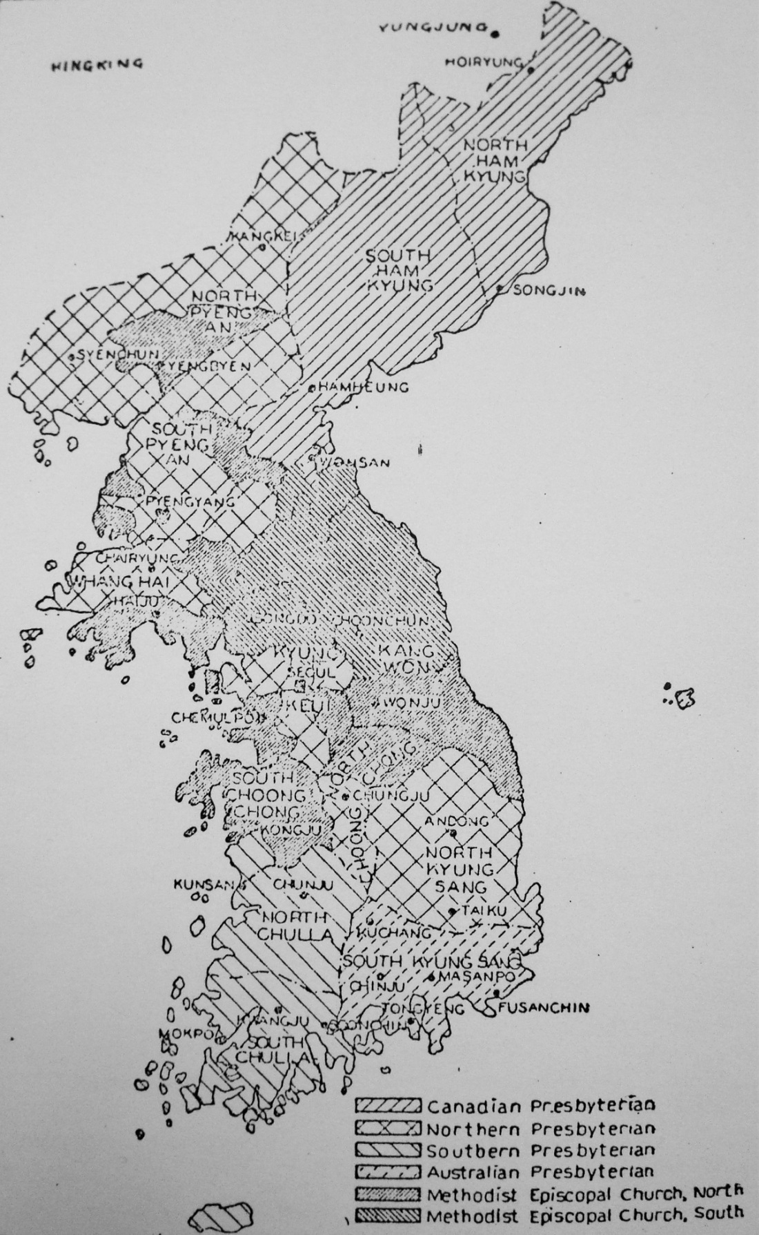 Denomination Map Black and White